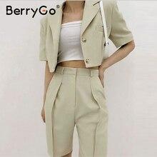 Suits Berrygo Female-Set Women Blazer-Top Shorts Gray Green High-Waist Summer Straight