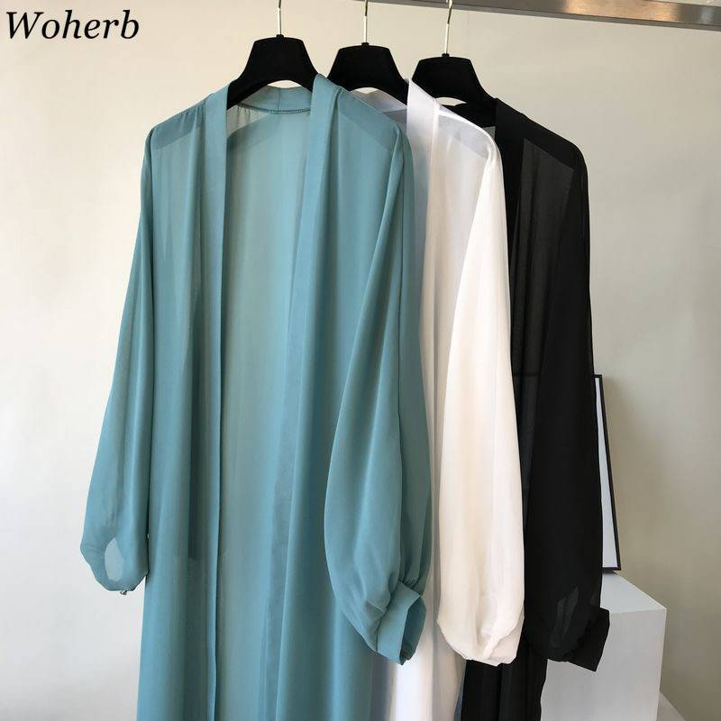 Woherb 2020 Lantern Sleeve Long Blouses Kimono Cardigan Holiday Beach Outwear Women Summer Tops Plus Size Korean Clothes Shirts