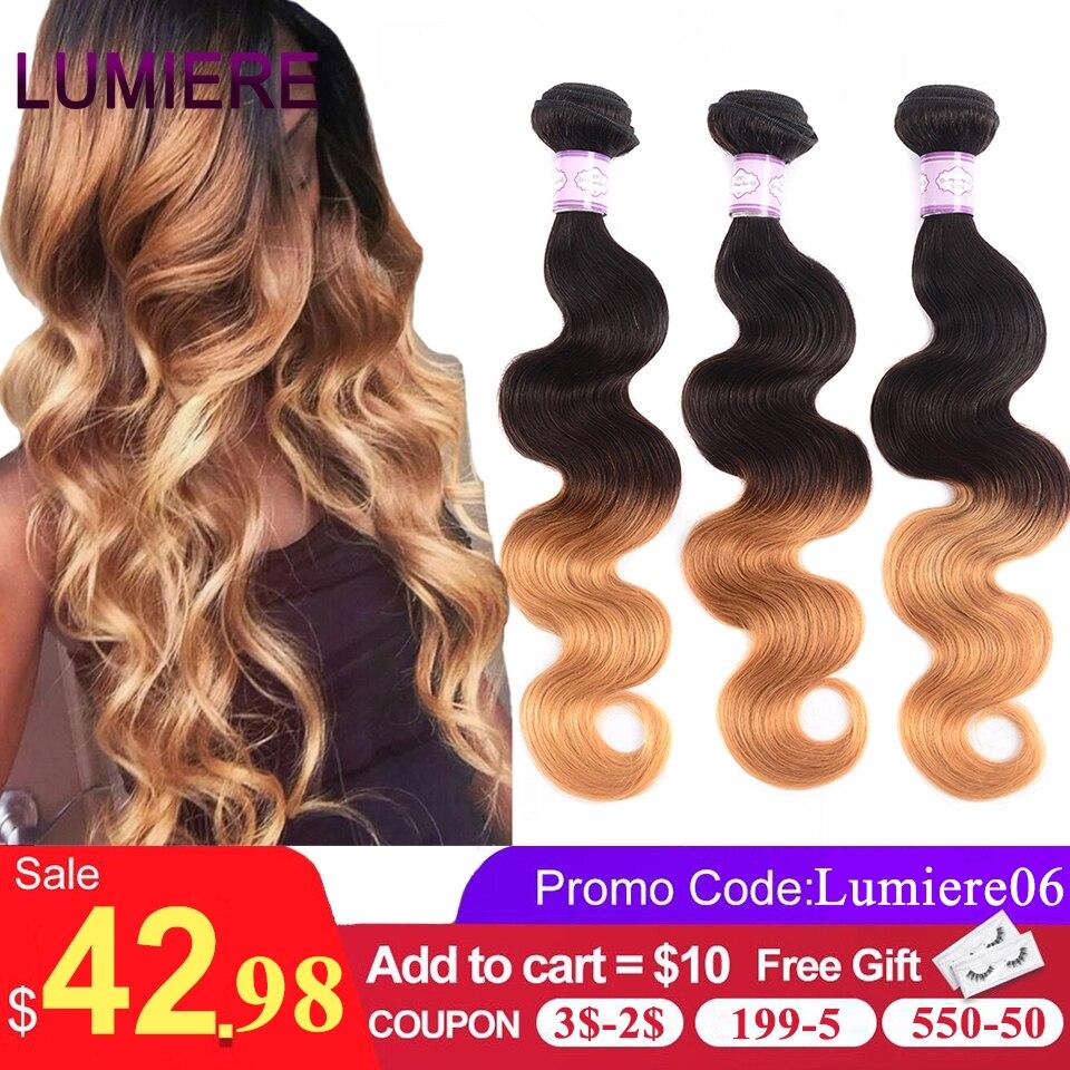 Lumiere ombré cabelo brasileiro, ondulado de cabelo humano ondulado t1b/4/27 não remy ombré pacotes podem comprar 3/4 pacotes