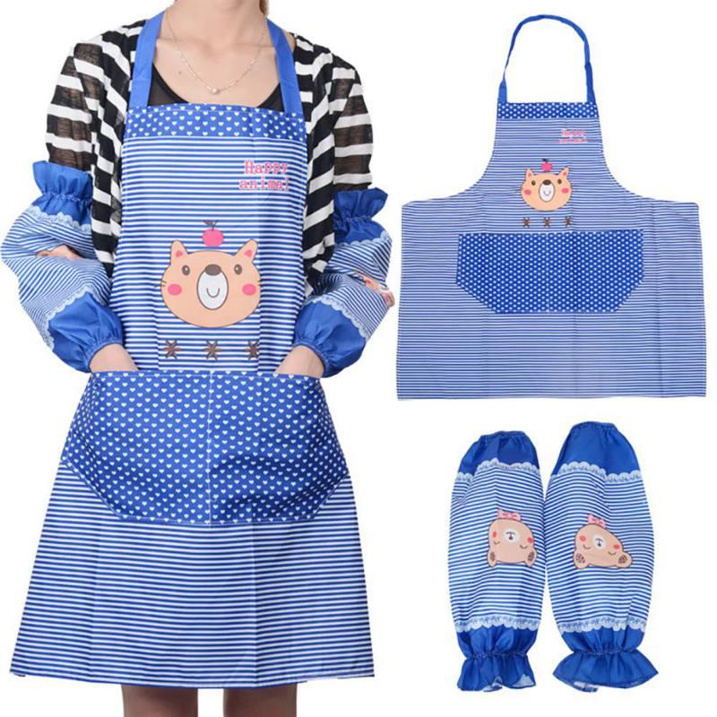 Кухонные аксессуары, фартук набор мультяшный медведь с длинными рукавами манжеты водонепроницаемый фартук бытовые товары