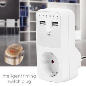 Image 3 - Dual Usb Eu Plug Timing Socket Tijdschakelaar Countdown Outlet Controller Smart Elektrische Huishoudelijke Socket Plug Adapter