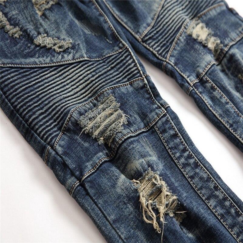 Denim Del Progettista Dei Jeans del Foro di Alta Qualità Strappato per il Formato Degli Uomini 28 38 40 2019 Autunno Inverno Più Velluto HIP HOP Punk Streetwear - 5