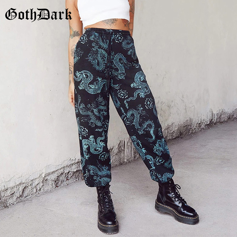Goth Dark Gothic Women Trousers Summer Hip Hop Dragon Print Streetwear Female Sweatpant Loose Harajuku Fashion Bandage Pants