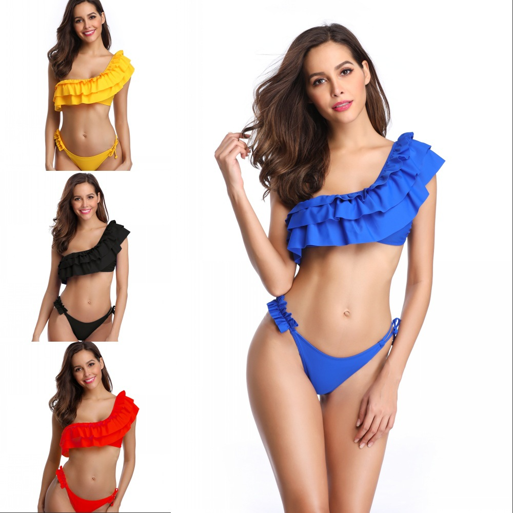Micro bikini2018Bikinis Women Swimwear Low waist Swimsuit Slanted shoulder ruffle <font><b>Sexy</b></font> Bikini Set Solid color Plus Size Swimwear image