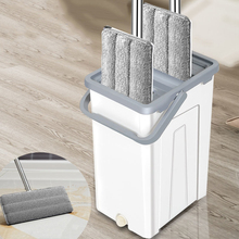 Magic Cleaning Mop Lazy Hands-Free Rotating Microfiber Mat Cloth Flat Squeeze Mop With Bucket Home Window Floor Cleaning Tool