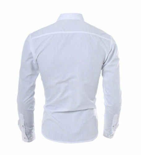 새로운 럭셔리 남성 솔리드 캐주얼 공식 셔츠 긴 소매 슬림 맞는 비즈니스 드레스 셔츠 탑스