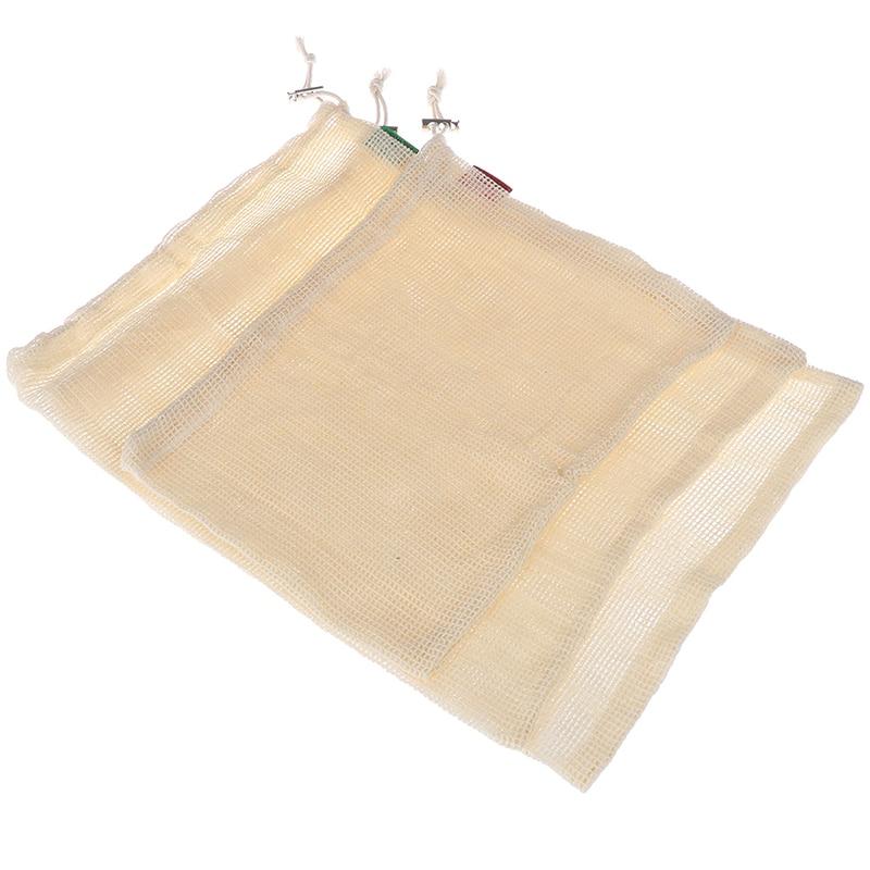1PCS Reusable Drawstring Bags For Grocery Shopper For Home Organizer Mesh Cloth Linen Sundries Storage Bag