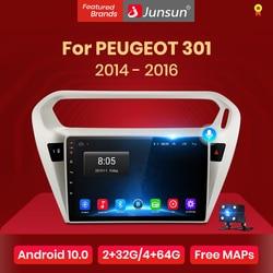 Junsun V1 4G+64G CarPlay Android 10 DSP For PEUGEOT 301 Citroen Elysee 2014 - 2016 Car Radio Multimedia Video Player GPS RDS dvd