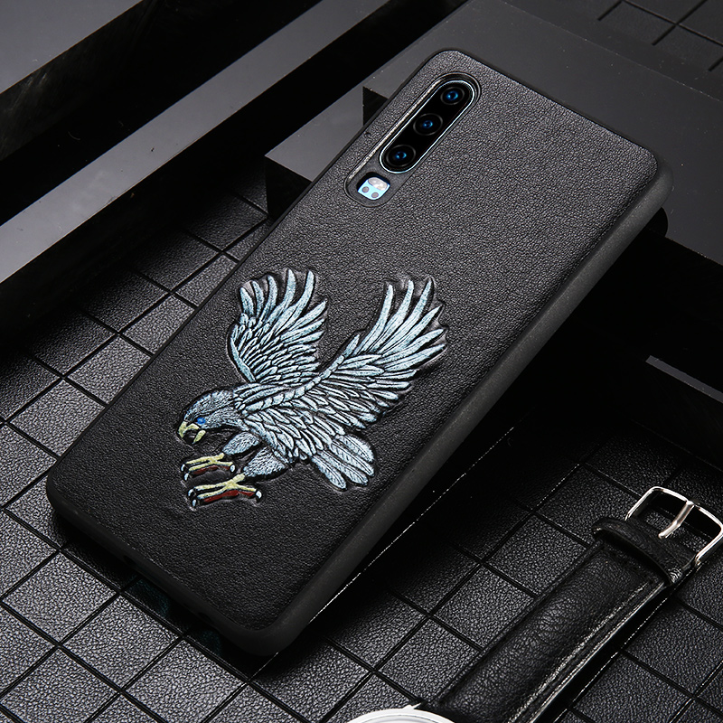 Genuine Leather 3D Emboss Eagle Grain Phone Case For Huawei P30 Lite Pro Mate 30 20 P20 Y6 Cover For Honor 20 Pro 10 10i 8X 9X