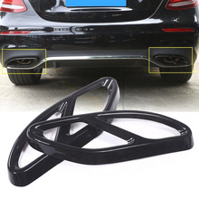 2pcs Exhaust Muffler Cover Trim Moulding Black Stainless Steel For Mercedes Benz GLC GLE GLS C E Class
