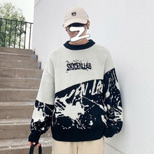 Winter Sweater Men Fashion Print Contrast Casual O-Neck Knit Pullover Man Streetwear Wild Loose Long Sleeve Male Clothes