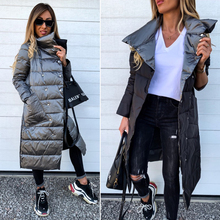 Double Sided Coat Cotton Women Long Jacket Fahion Winter Turtleneck Double Breasted Warm Outwear