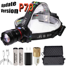 2020 new  xhp70 Head lamp USB charging 18650 super bright Headlamp rechargeable waterproof head light ZOOM for camping