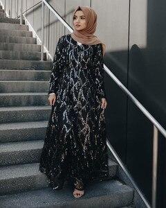 Image 2 - Di modo di Paillettes Nappa Abaya Turco Abiti Hijab Musulmano Abito Da Dubai Abaya per Le Donne Caftano Marocain Caftano Abbigliamento Islamico