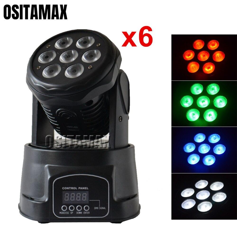 6 шт. светодиодный мини-сценический светильник с подвижной головкой 7x10 Вт 4в1 RGBW для свадебного украшения, идеальный диско-DJ светильник ing