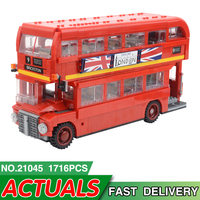 21045 City Creator London Bus Model Building Blocks Toys for Children Compatible with legoing 10258 Bricks Christmas DIY Gifts
