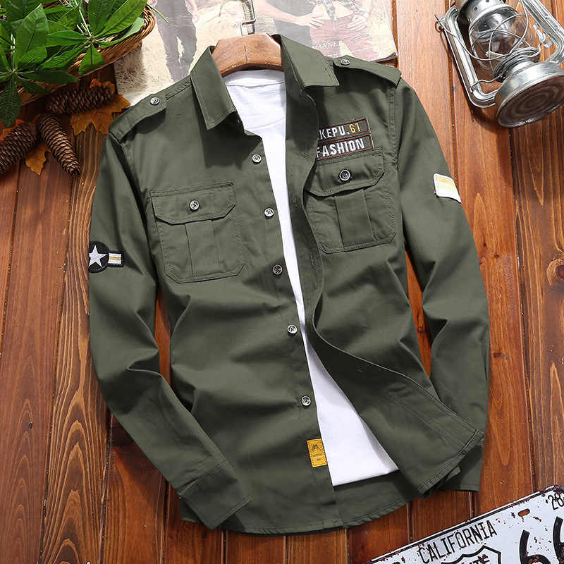 남성 셔츠 밀리터리 코튼 셔츠 카키 캐주얼 레트로 슬림 피트 포켓 긴 소매 빈티지 자켓 Streetwear 드롭 배송