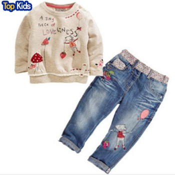 2021 New Arrival Toddler Cute Baby Girl 2pcs Children Sets Long Sleeve Tops+ Jeans Children Sets Spring Summer Outfits fall Cute 1