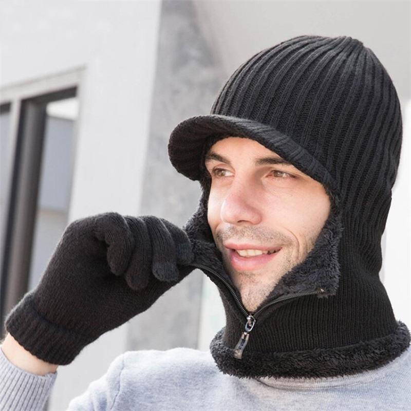 Winter Zip Hooded Scarf Men Women 2019 Plush Knitted Hat Scarf With Golves Male Woman Warm Protection Ear Brim Cap Scarves