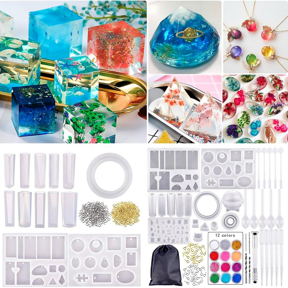 DIY Crystal Epoxy Tools Pendant Silicone Casting Molds And Tools Clay Mold Pottery Mould With Storage Bag Jewelry Craft Make