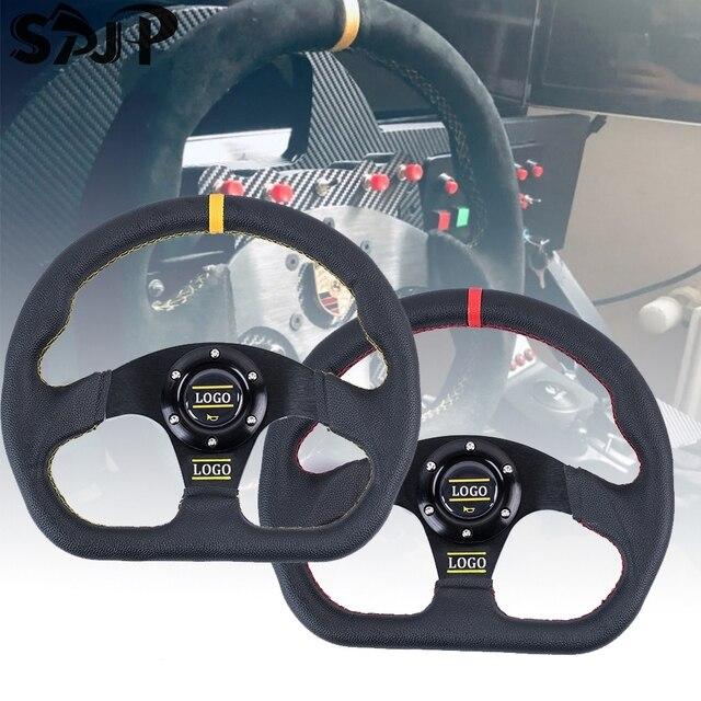 אוניברסלי פנים חלקי 13 אינץ PVC רכב מירוץ היגוי גלגלים עמוק תירס נסחף הגה ספורט עם לוגו