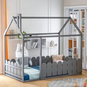 Cama de madera de tamaño doble, marco de cama con CERCA, para niños, adolescentes, niñas, niños (gris)