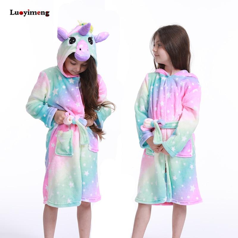 Kugurumi Unicorn Children Bathrobes Baby Nightgown Kids Rainbow Bath Robe Animal For Boys Girls Pyjamas Nightgown Kids Sleepwear