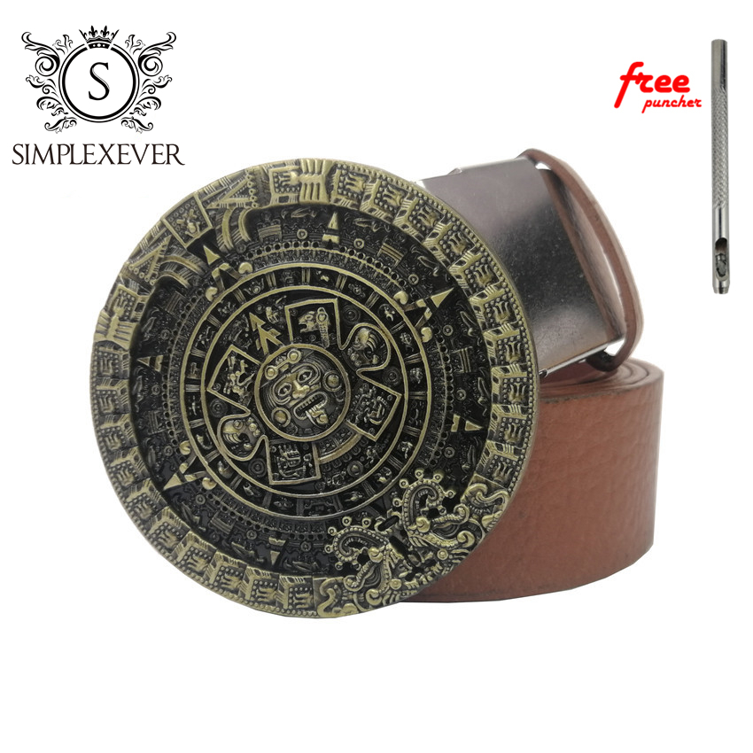 Leather Belts with Aztec Calendar Round Belt Buckles Woman Cowboy Solid Brass Belt Buckles Fit 38mm Wide Belt