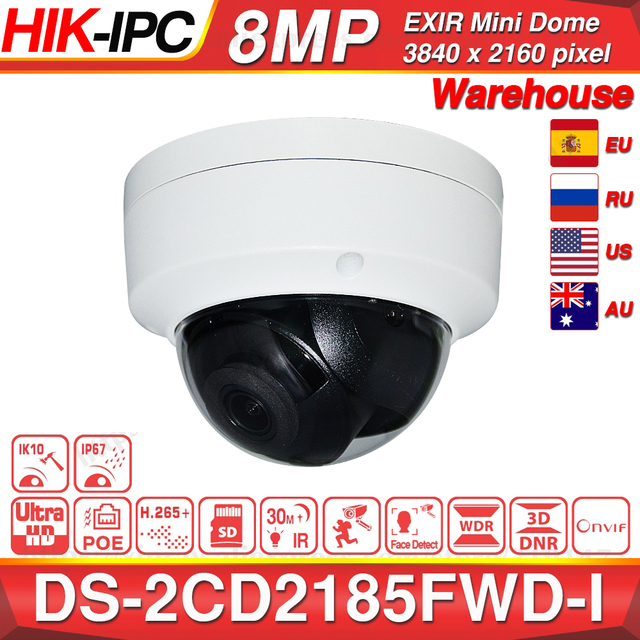 Hikvision Original DS 2CD2185FWD I 8MP CCTV cámara RED Cámara H.265 4K IP Cámara Audio alarma interfaz 30M IR Mini domo OEM