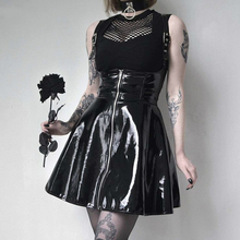 Goth Dark  Solid Leather Vintage Skirts Zipper Pleated Slim Gothic Skirt Lady Trendy High Waist Black Short Female Summer