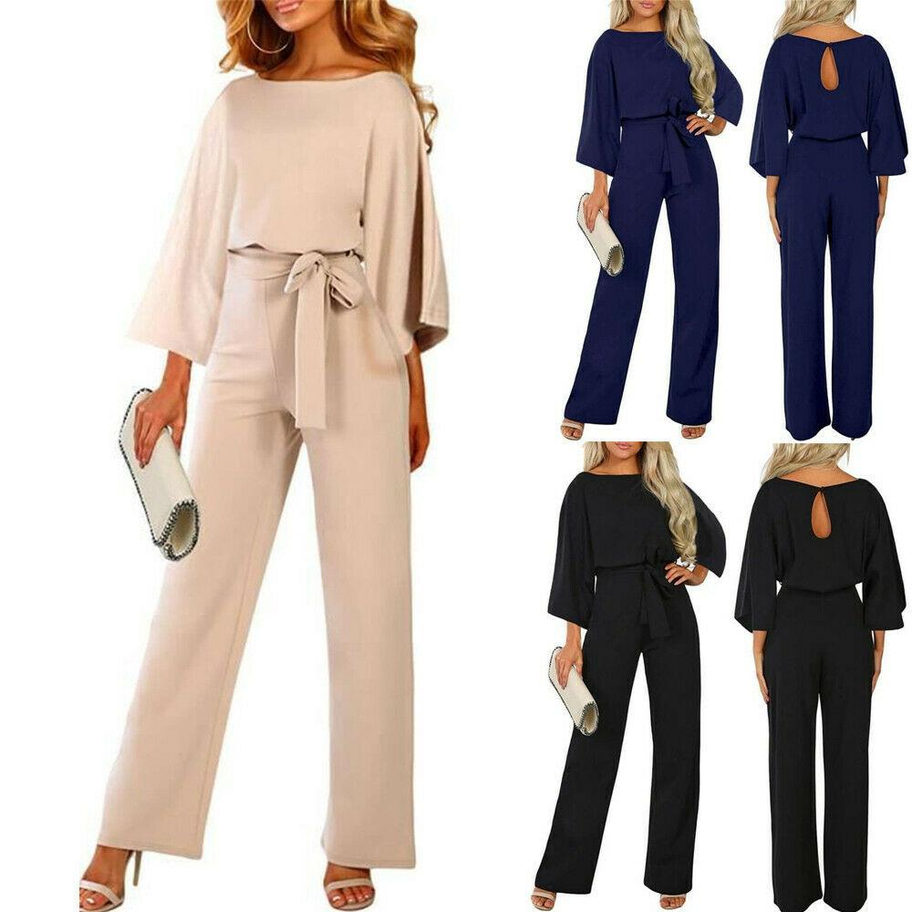 New 2019 Women Elegant Long Sleeve Autumn Jumpsuit Lady Business Office Evening Party Wide Leg Jumpsuit Plus Size