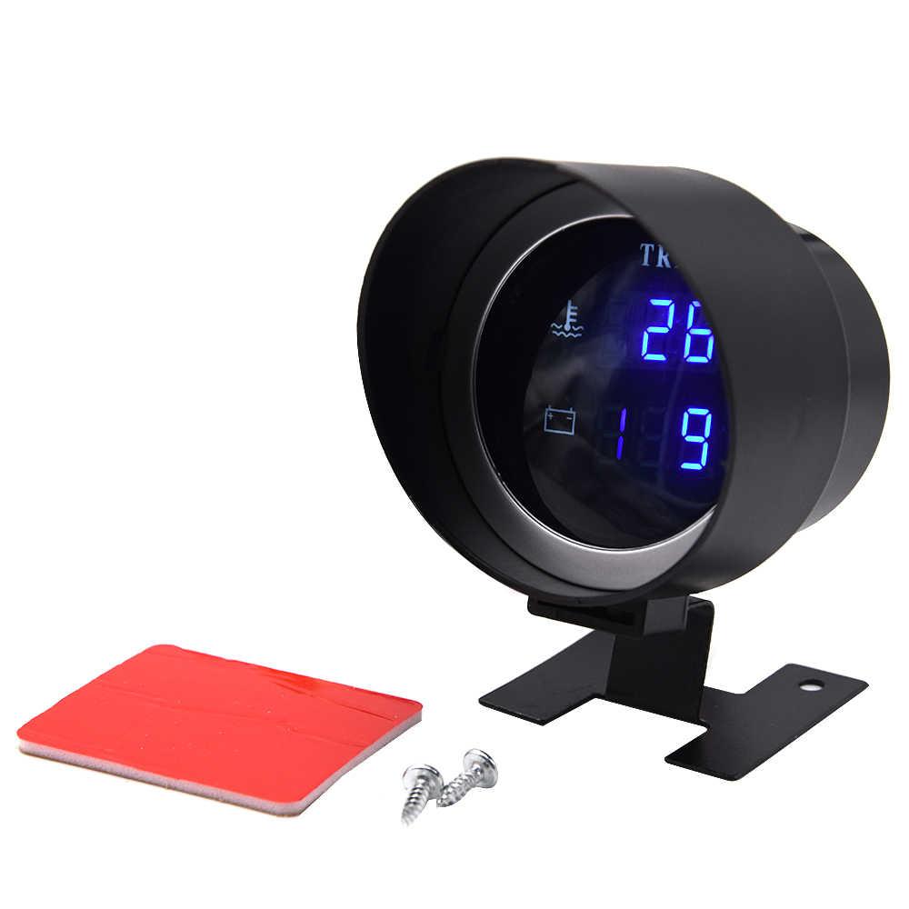 Ajcoflt Medidor de Temperatura del Agua del cami/ón del Coche Digital Led Redondo Sensor de Temperatura Temperatura Moto Volt/ímetro Volt/ímetro Medidor de Voltaje 2 en 1 12,0 V 24 V