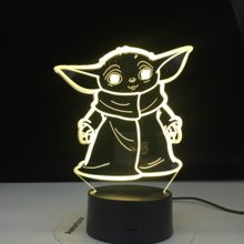 Star Wars Mini Yoda 3d Led Night Light Baby Cartoon Meme Figure Nightlight for Kids Child Bedroom Decor Table Lamp Night Light(China)