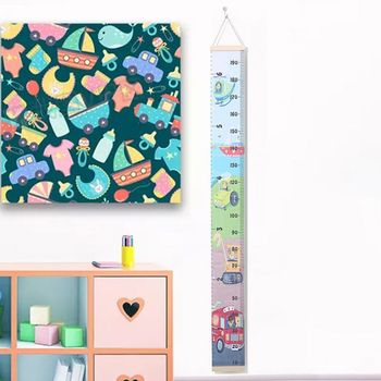 Kids Baby Growth Chart Wood+Canvas DIY Wall Hanging Measuring Ruler Room Decor X5XE