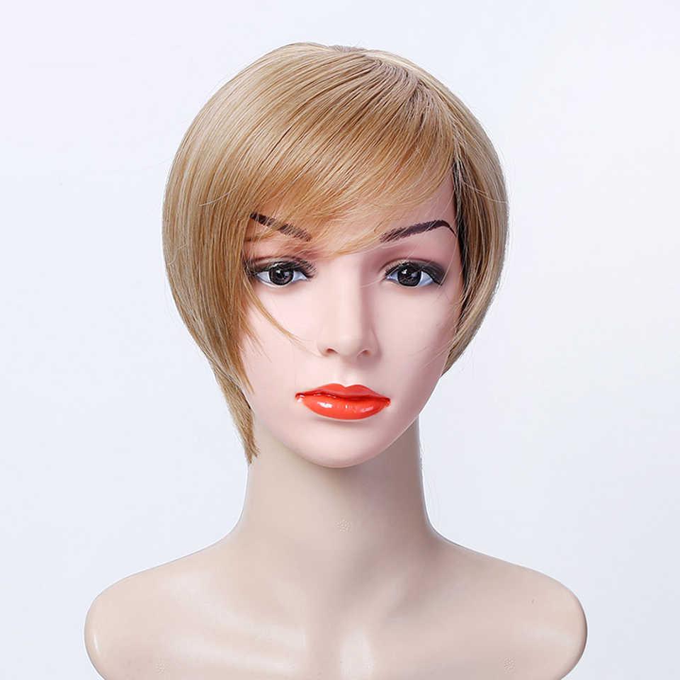 LUPU damskie syntetyczne krótkie włosy w stylu bob peruka z grzywką Cut Pixie czarne blond brązowe żaroodporne naturalne sztuczne włosy