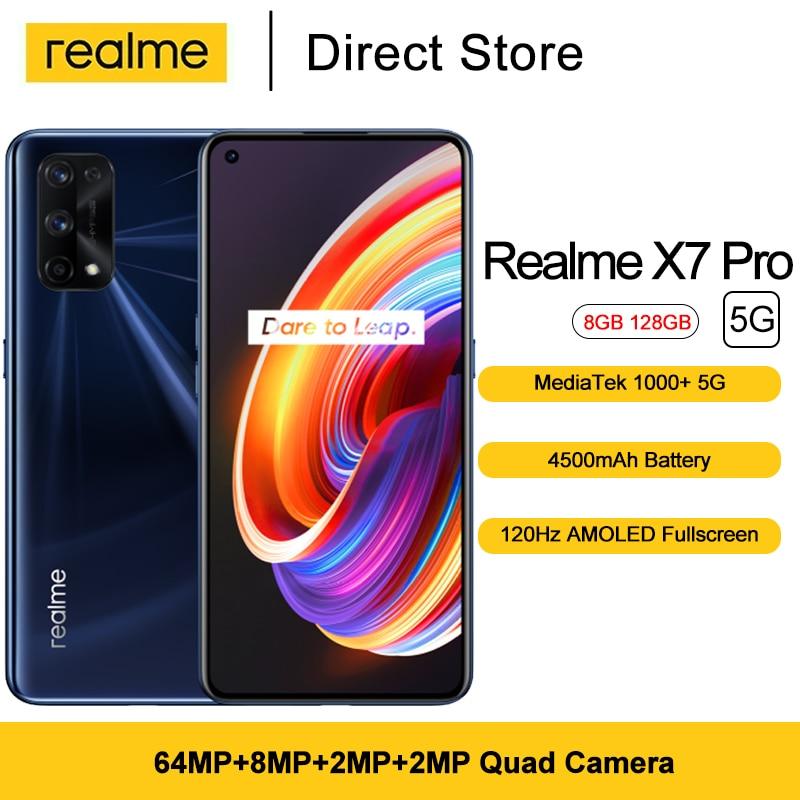 Telefony komórkowe Realme X7 Pro 5G 6.55 FHD + Dimensity 1000 Plus Octa Core NFC smartfony 64MP kamera tylna 4500mAh 8GB RAM