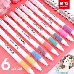 M & G 6 kolorów/zestaw śliczne Kawaii kolorowy atrament długopis żelowy zestaw 0.5mm cienki chowany kolorowe kolorowe długopisy szkolne artykuły papiernicze