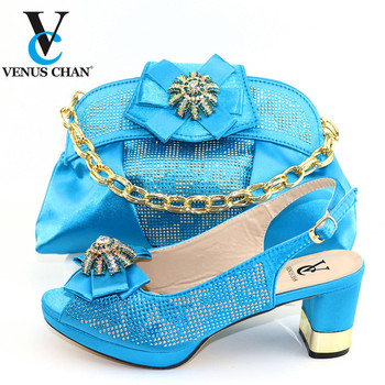 Leisure Italian Women Party Shoes Matching Bag Set Decorate with Rhinestone in Bule  African Wedding Shoes and Bag Set