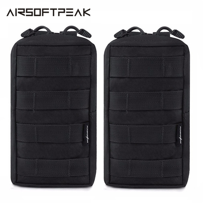 2 Pcs EDC Molle Pouch Tactical Military Waist Bag Backpack Accessories Hunting Climbing Phone Holder Nylon Vest Gadget Gear Bags