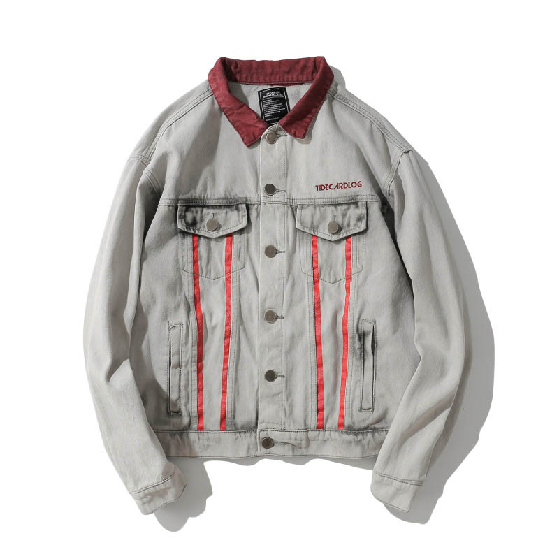Denim Jackets Male Streetwear-Size Men's Mcikkny for M-2XL Washed High-Street