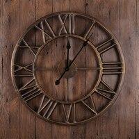 Large Metal Wall Clock Modern Design European Retro Style Roman Number Creative Iron Watch Big Wall Clocks Home Decor 60x60 cm