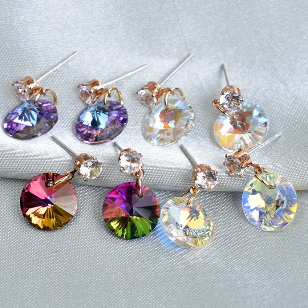 Crystal Stud Earrings For Women New Simple Geometric Round Earring Jewelry Fashion Accessories Colorful Earings