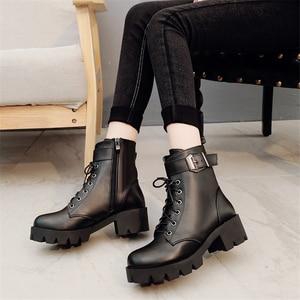 Image 4 - Moda skórzane Martens buty damskie buty zimowe ciepłe sznurowane botki dla kobiety wysokiej jakości wodoodporne buty na platformie Drop