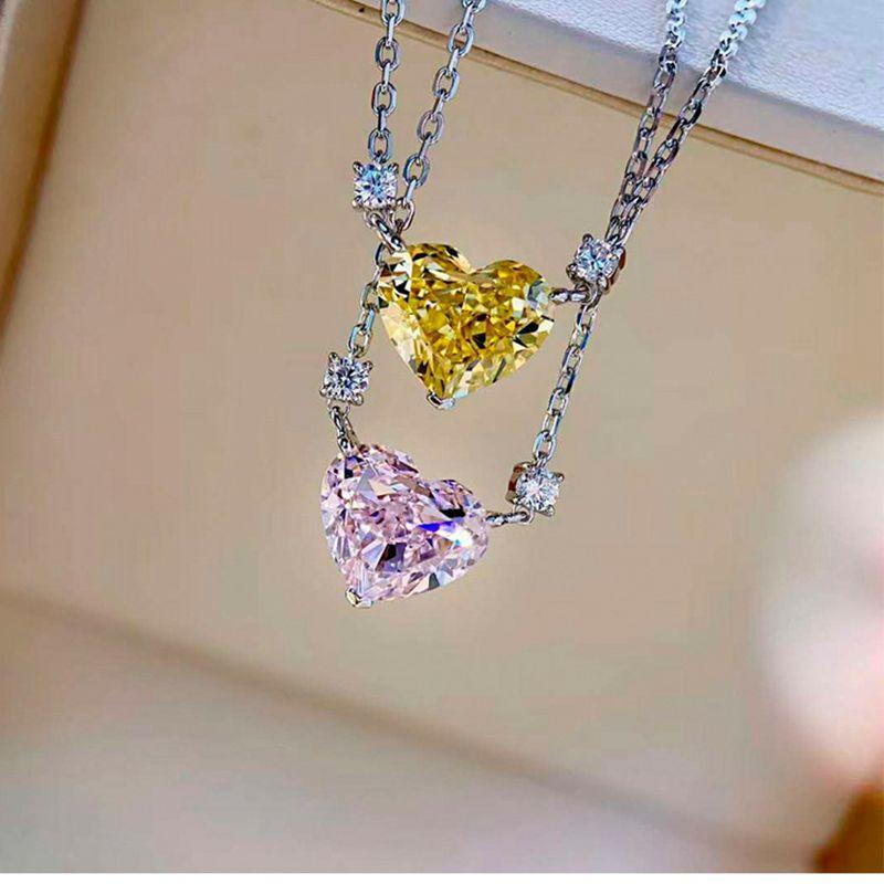 Wong Rain 100% 925 Sterling Silver Heart Moissanite Pink Sapphire Gemstone Wedding Engagement Pendant Necklace Fine Jewelry