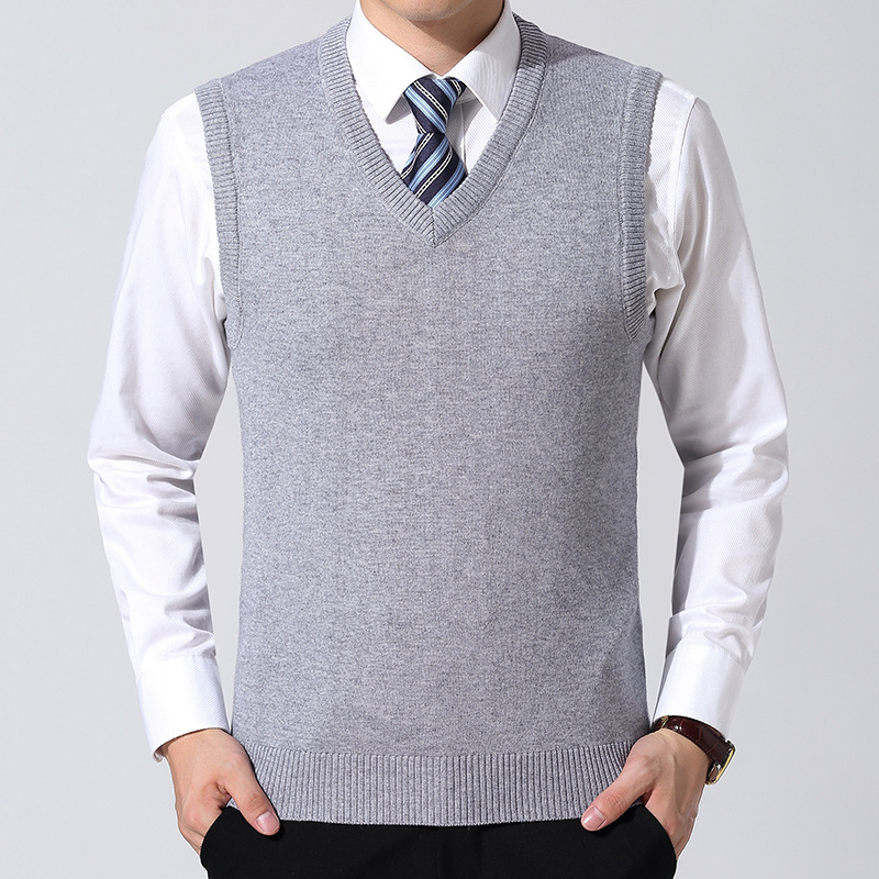 SHUJIN New Cotton Knitted Pullover Men V-Neck Sleeveless Formal Business Pull Homme Casual Solid Sweater Men Sweaters Vest