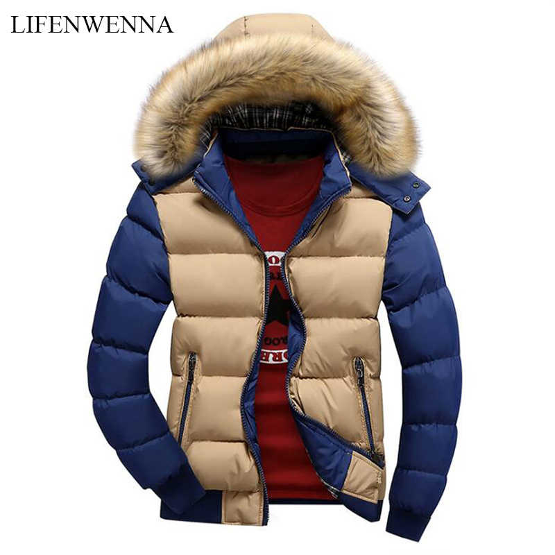 2019 Brand New Winter Jacket Men Warm Down Jacket 9 Color Fashion Brand With Fur Hood Hat Men Outwear Coat Casual Thick Mens 4XL