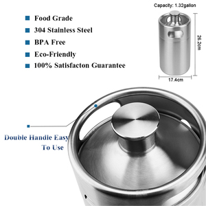 Image 5 - mini keg 5l,Pressurized Beer Keg System 64oz Stainless Steel Mini Growler Keg Adjustable Beer Tap Faucet Premium CO2 Charger Kit