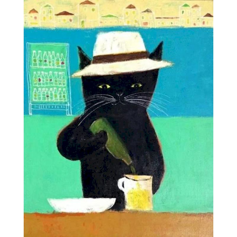 RUOPOTY Bartender black cat Animals DIY Coloring By Numbers On Canvas Oil Painting Picture Wall Art Home Decoration Artwork gift-0