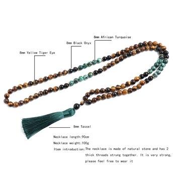 8mm Yellow Tiger Eyes Turquesa Africana Black Onyx Japamala Set Meditation Yoga Spirit Jewelry 108 Mala Beaded Tassel Necklace 2