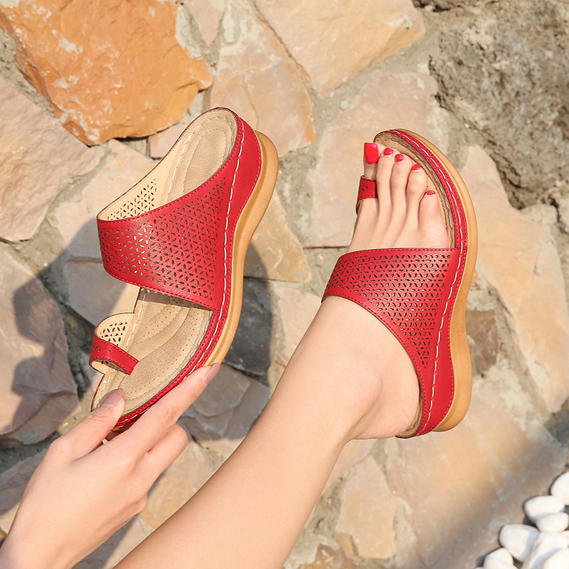 Женские тапочки из искусственной кожи; Удобные женские мягкие сандалии на плоской платформе с большим носком; Ортопедический корректор|Боссоножки и сандалии|   | АлиЭкспресс